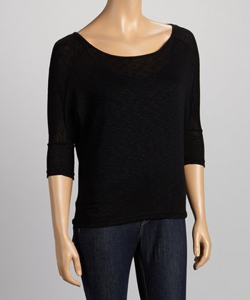 Black Scoop Neck Three-Quarter Sleeve Top