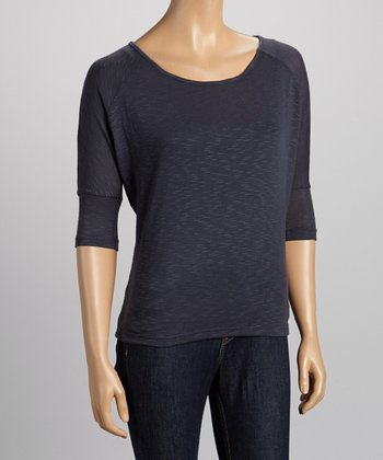 Charcoal Scoop Neck Three-Quarter Sleeve Top