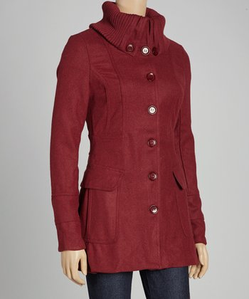 Burgundy Funnel Collar Coat