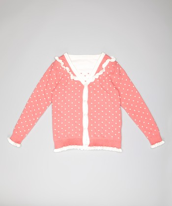 Pink Diamond Dot Ruffle Cardigan - Girls