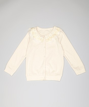 Ivory Faux Pearl Lace Cardigan - Toddler & Girls