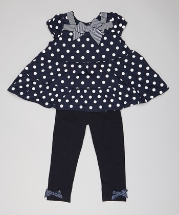 Navy Polka Dot Bow Ruffle Tunic & Leggings - Infant & Toddler