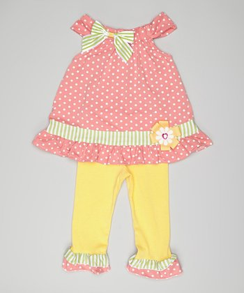 Pink Polka Dot Bow Swing Top & Pants - Toddler