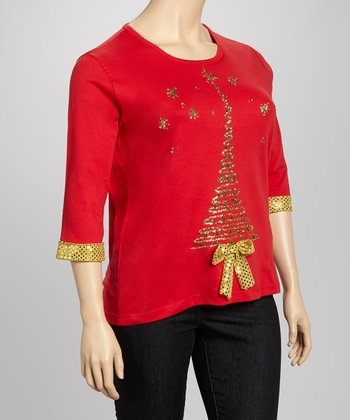 Red & Gold Sequin Tree Tee - Plus
