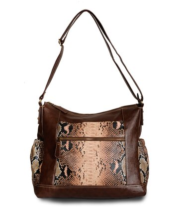 Brown Python Jacey Diaper Bag