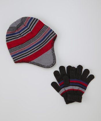 Red Stripe Earflap Beanie & Gloves