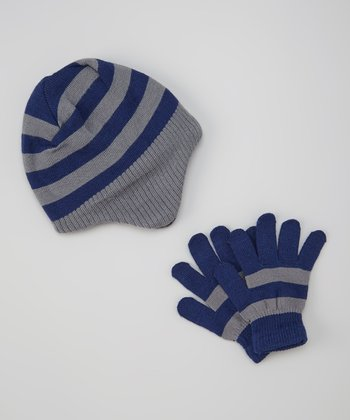 Blue & Gray Stripe Beanie & Gloves