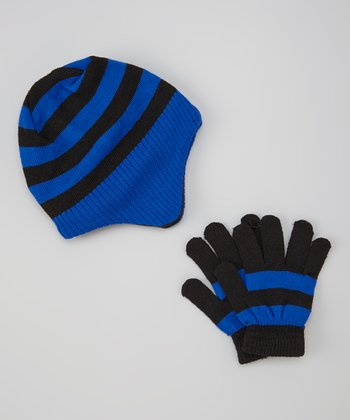 Blue & Black Stripe Beanie & Gloves