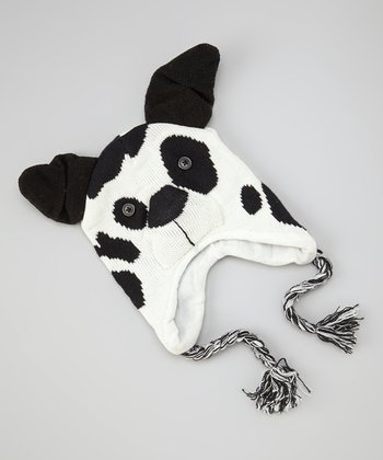 White Spotted Dog Earflap Beanie