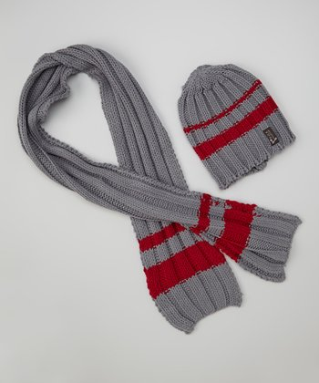 Gray & Red Knit Beanie & Scarf