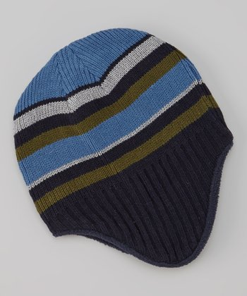Light Blue & Green Stripe Earflap Beanie