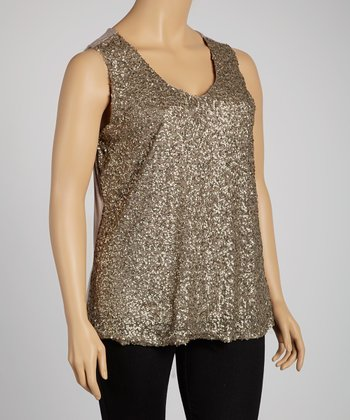 Taupe & Gold Sequin V-Neck Top  - Plus
