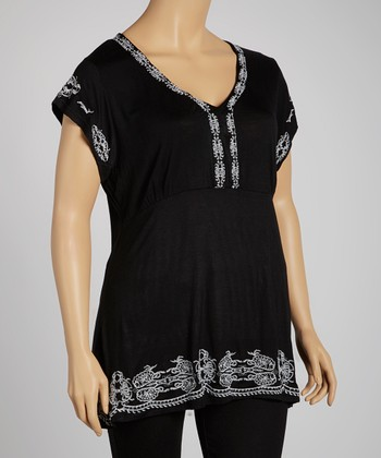 Black & White Embroidered Top - Plus