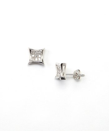 Cubic Zirconia & Sterling Silver Kite Stud Earrings