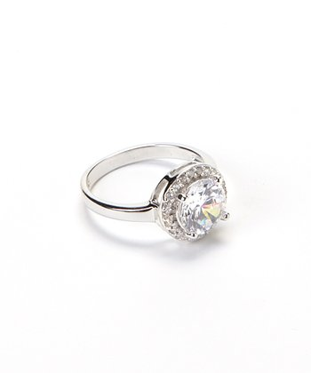 Cubic Zirconia & Sterling Silver Round-Cut Ring
