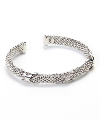 Cubic Zirconia & Sterling Silver Triple X Stretch Cuff