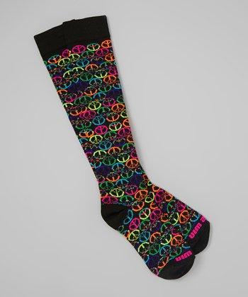 Fit 2 Win Sportswear Black Peace Sign Knee-High Socks