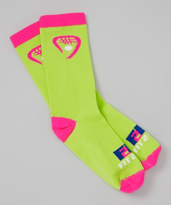 Fit 2 Win Sportswear Hot Pink & Green Racket Socks
