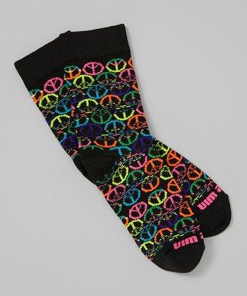 Fit 2 Win Sportswear Black Peace Sign Socks