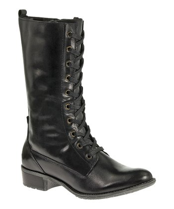 Black Leather Chamber Boot - Women