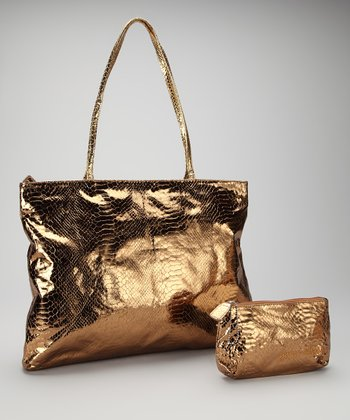 Bronze Small East West Snakeskin Tote and Makeup Bag
