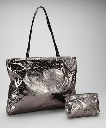 Pewter Small East West Snakeskin Tote and Makeup Bag