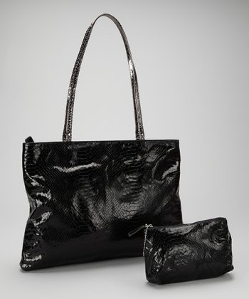 Black Small East West Snakeskin Tote and Makeup Bag