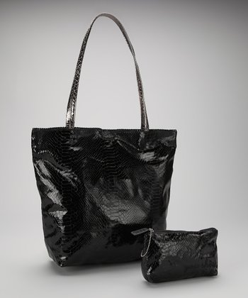Black Small North South Snakeskin Tote and Makeup Bag