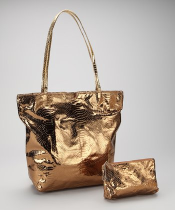 Bronze Small North South Snakeskin Tote and Makeup Bag
