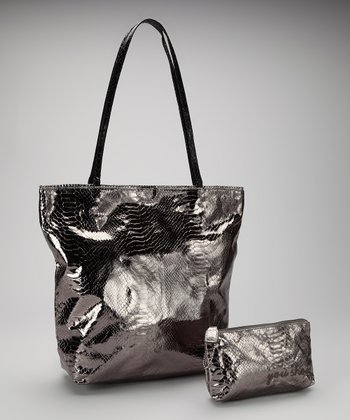 Pewter Small North South Snakeskin Tote and Makeup Bag