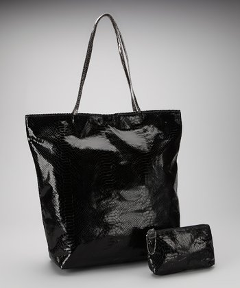 Black Large North South Snakeskin Tote and Makeup Bag