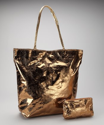 Bronze Large North South Snakeskin Tote and Makeup Bag