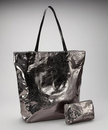 Pewter Large North South Snakeskin Tote and Makeup Bag