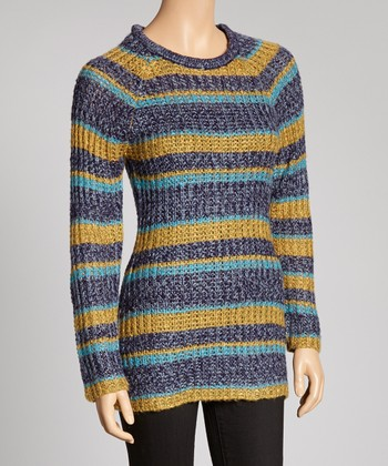 Blue & Yellow Stripe Scoop Neck Sweater
