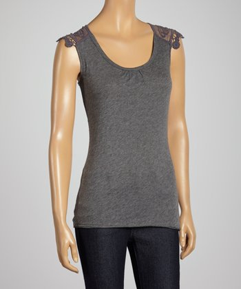 Charcoal Lace Crochet Trim Tank