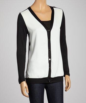Black & White V-Neck Cardigan