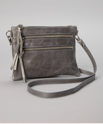 Charcoal Leather Crossbody Bag