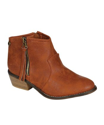 Cognac Zipper Ankle Boot