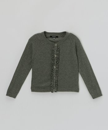 Charcoal Heather Ruffle-Front Cardigan - Toddler & Girls