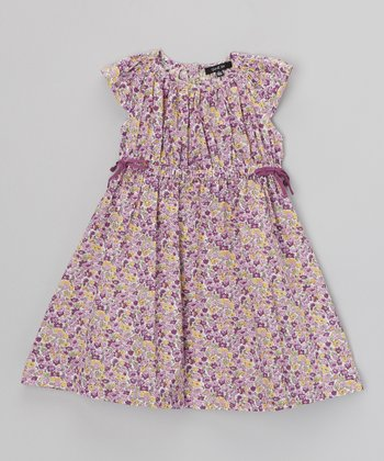 Purple Floral Angel-Sleeve Dress - Toddler & Girls