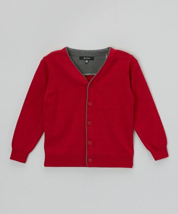 Red Suede Elbow Patch Cardigan - Toddler & Boys