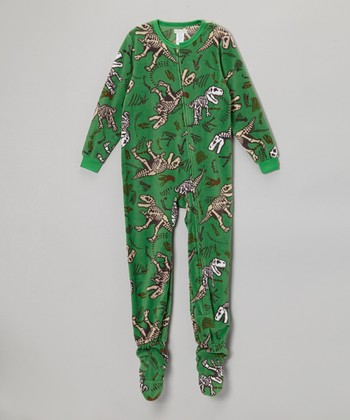 Green T-Rex Fleece Footie - Boys