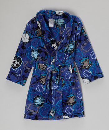 Blue Sports Fleece Robe - Boys