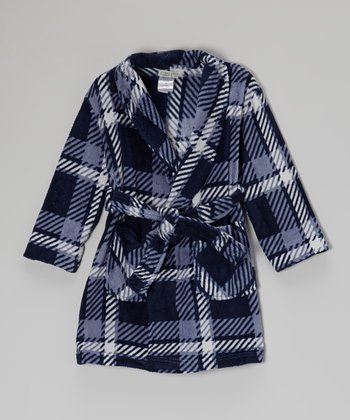 Blue Plaid Fleece Robe - Boys