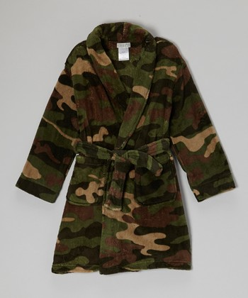 Green Camo Fleece Robe - Boys