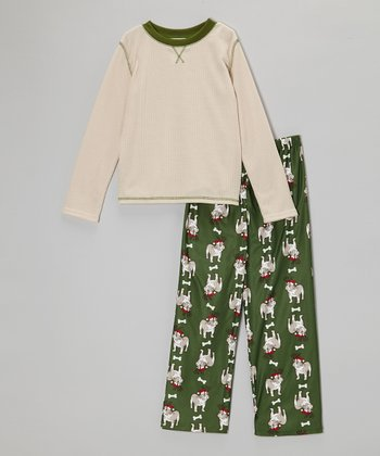 Cream & Hunter Green Reindeer Dog Thermal Pajama Set - Boys