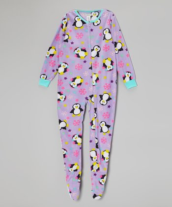 Purple Penguin Fleece Footie - Girls