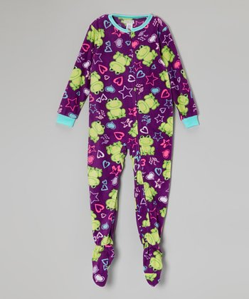 Purple Music Frog Fleece Footie - Girls