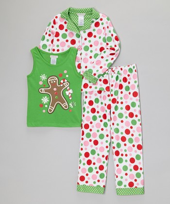 White Polka Dot Three-Piece Pajama Set  - Girls
