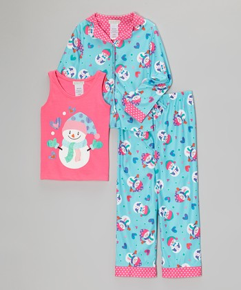 Blue Snowman Three-Piece Pajama Set  - Girls